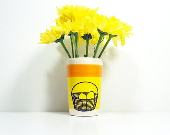 itty bitty cylinder / vase / cup with a basket of fresh eggs print on creamsicle/red-orange color block READY TO SHIP