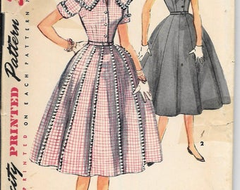Vintage 50s Simplicity 4967 Full Skirt Dress Rockabilly Sewing Pattern Sailor Collar Size 14 Bust 32
