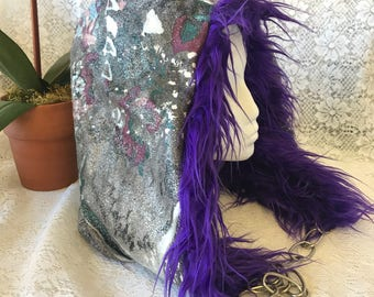 Spirit Hood - reversible with chain, purple fuzzy faux fur; pink grey silver abstract spray paint