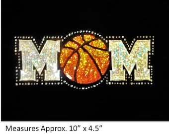CLOSEOUT SALE Basketball Mom Sequins and Rhinestone Transfer Applique ONLY