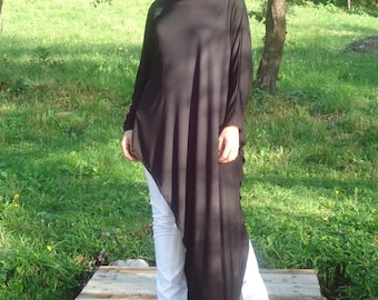 New COLLECTION oversize black loose tunic /Long sleeves Tunic /Extravagant Tunic /Black asymmetrical tunic/Long tunic top/Black top /