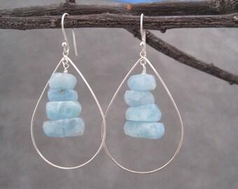 Silver Hoop Earrings - Aquamarine Earrings - Aquamarine Jewelry - March Birthstone - Aquamarine Nuggets- Silver and Blue - Aquamarine Drops