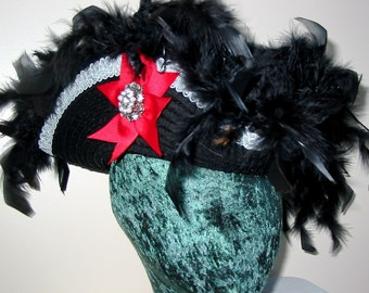 Custom Pirate Hat- Fancy Feathered Black Pirate Tricorn Hat, your choice of base