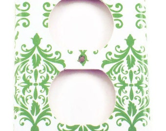 Light Switch Cover Wall Decor Light Switchplate  Outlet Plate Cover in Green Damask  (204O)