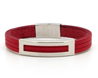 Men's red bracelet, Red leather bracelet, Red leather cuff for men - the Helios