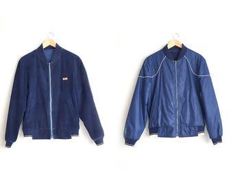 Size L // REVERSIBLE BOMBER JACKET // Corduroy - Navy Blue - Zip-Front - Club Jacket - Vintage '70s.