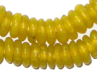 100 Recycled Glass Beads - Yellow African Beads - Ghana Disk Beads - Fair Trade Necklace - Wholesale - Made in Africa (RCY-RND-YLW-606)