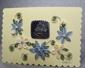 Birth card, baby boy, quilling, scalloped pale yellow card, quilled flowers, blue and cream flowers, french