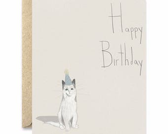 Happy Birthday Simplistic- Cat Greeting Card