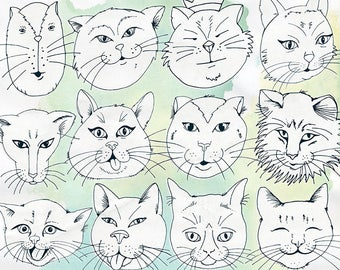 Cat Faces Line Art, Printable Cat Digital Stamps, Kitty ClipArt, Kitten, Card Making Outline Clip Art, Instant Digital Download