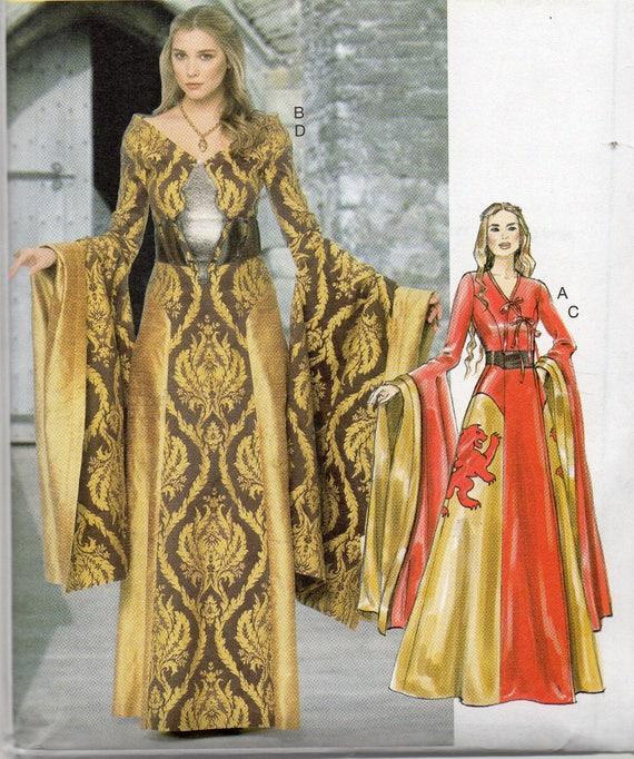 GAME of THRONES GOWNS w/ Long Wide Sleeves & Optional Boning