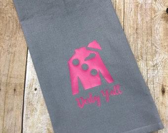 Grey hand towel with pink Jockey Silk, Kentucky Derby hand towel, Derby decor