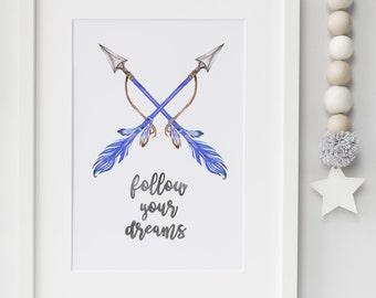 Boys Follow Your Dreams Print- Arrow and feather print-  bedroom, playroom, nursery print