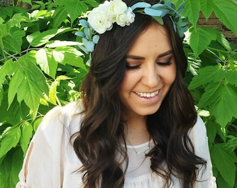 Greenery + Clustered Ranunculus Flower Crown / Greenery Bridal Flower Crown / Bride Greenery Crown / Natural Flower Crown / High Quality