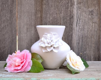 Ceramic White Vase with Floral Motif
