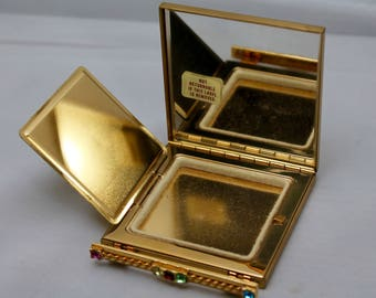 "Vintage Gold Square ""Volupté"" Compact With Multi-colored Rhinestones"