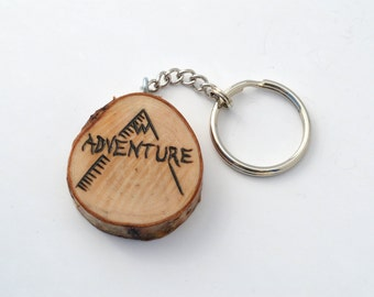 Adventure Mountains Custom Wooden Keychain Pyrography Wood Burning