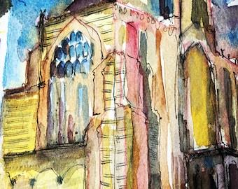 Greetings card 'Milton Abbey Window'
