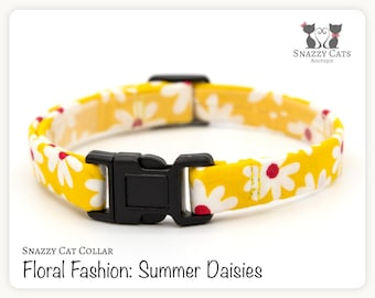 Snazzy Cat Collar: Summer Daisies - Floral Fashion Collection - Flowers on Yellow Cat Collar - Handmade - Cats + Kittens Breakaway Collar