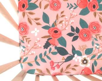 Crib Sheet Coral Bramble. Fitted Crib Sheet. Baby Bedding. Crib Bedding. Crib Sheets. Floral Crib Sheet.