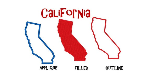 Bogo Free Usa State California Embroidery Design Pack Outline