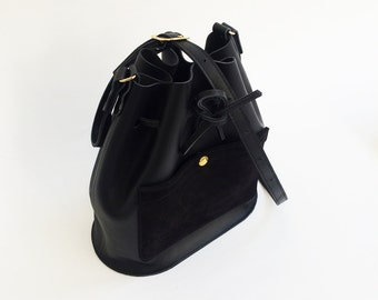 Black bucket bag, leather bucket bag,  shoulderbag, women's bag, black leather bag