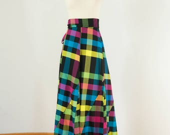 Cotton Long Skirt Coolawoola Diamond Plaid Wrap Around Waist Skirt Boho style