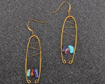 Wire wrap earrings, copper earrings, Stone Earring