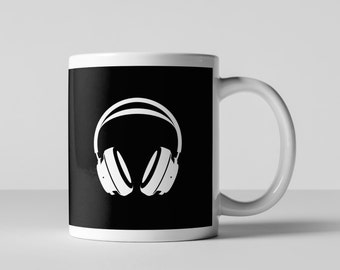Retro Headphones Coffee Mug, Geometric Coffee Mug, Ceramic Mug, Pattern Coffee Mug, Fun Coffee Mug, Coffee Cup