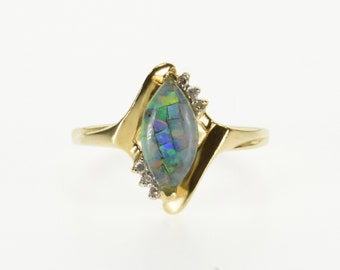 10k Opal Mosiac Resin Marquise Diamond Accented Ring Gold