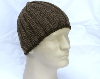 Men's Beanie Brown Tan Ribbed Knit Hat Toque Warm Winter Merino Wool Masculine Olive Green