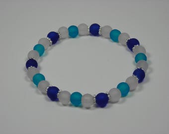 Baby Blue, Cobalt Blue and White Sea Glass Bracelet