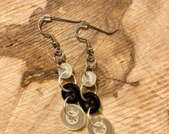 Black & White button dangle earrings