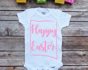 Happy Easter onesie, Easter baby onesie, 1st Easter, baby girl, toddler Easter shirts, kids easter clothes, easter onesie, baby girl easter