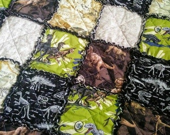 CLEARANCE - Dino/Jurassic World Quilt -  Toddler/Child size - Ready to Ship
