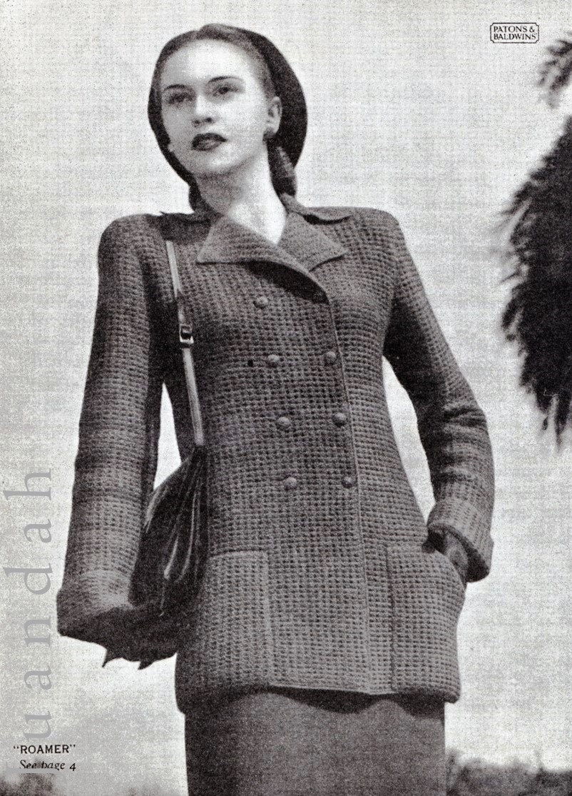 Vintage knitting patterns, 1940s fashion, women\'s knits, 7 knitting ...