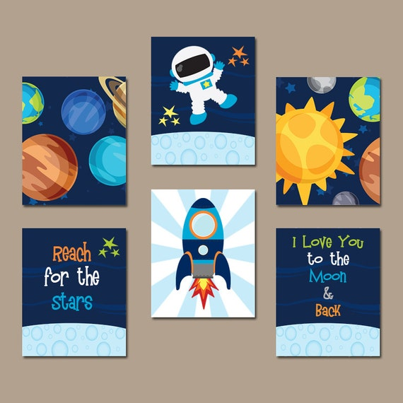 Outer space wall art baby boy nursery bedroom pictures love for Outer space decor for nursery