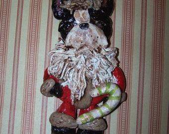 Folk Art Primitive Boston Terrier Santa Claus Ornament Vintage Style Ornie Ooak