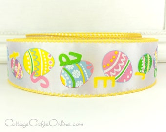 "Easter Wired Ribbon, 1 1/2""  Easter Eggs, Pink, Green, Blue, Yellow Print - THREE YARDS -  ""Egg Hunt"" Spring Craft Wire Edged Ribbon"