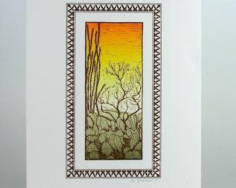 SALE /// DESERT SCENE: Prickly Pear Cactus, Occotillo, and Paloverde Tree Hand Printed Letterpress Print