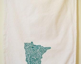 Minnesota Tea towel, screen printed state of Minnesota, cotton tea towel