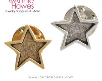 Star Lapel Pin or Tie Tack in your choice of Antique Silver or Antique Gold Plating. made in the USA.