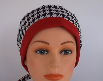 Houndstooth with Red Tie Back - Womens surgical scrub cap, Chemo hat, Nurse surgical hat, 9+100w