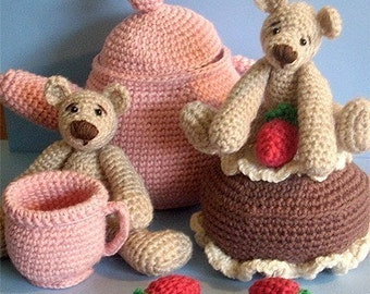Instant Download - PDF Crochet Pattern - Teapot and Bears