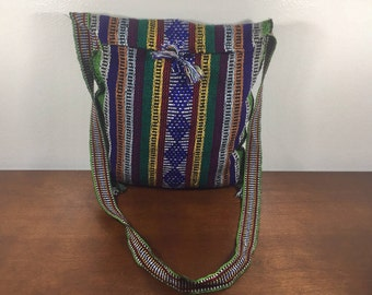 Mexican Blanket Purse, Bag, Boho, Shoulder Bag, Blue, Green, Yellow