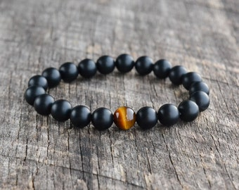 8mm Tiger Eye Bracelet, Matte Onyx Bracelet, Mens Bracelet, Black Bead Bracelet, Womens Gemstone Bracelet, Stretch Bracelet, Handmade Gifts