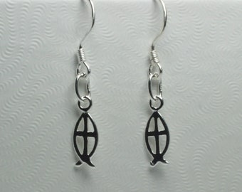 Sterling Silver Fish and Cross Earrings, Religious Jewelry, Gifts for Her,