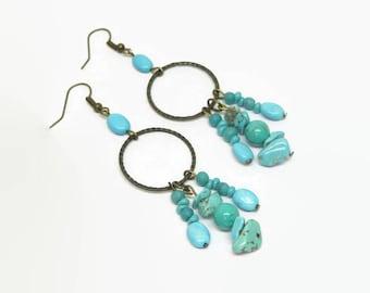 Turquoise Boho Hoop Earrings, Turquoise Boho Dangle Earrings, Turquoise Bohemian Hoop Earrings, Aqua Boho Hoop Earrings