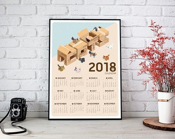 Poster Calendar 2018 - CATS (Featuring 8 Types of Cat Breeds)