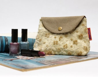 Floral Velvet Snap Pouch - Fabric cosmetic bag - Handmade with Love from Canvas and Vintage Upholstery  Fabrics